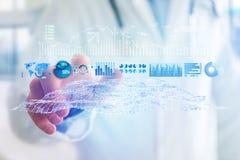 Widok Handlarski rynków walutowych dane interfejs na futurystycznym hologramie Obrazy Royalty Free