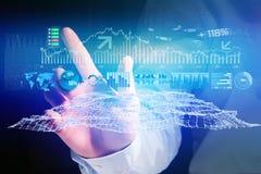 Widok Handlarski rynków walutowych dane interfejs na futurystycznym hologramie Fotografia Royalty Free