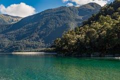 Widok Hasst rzeka od Ryczeć Billy spadki Tropi, Lokalizuje w Mt Aspiruje parka narodowego, Nowa Zelandia obraz stock