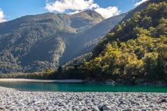 Widok Hasst rzeka od Ryczeć Billy spadki Tropi, Lokalizuje w Mt Aspiruje parka narodowego, Nowa Zelandia zdjęcie stock