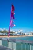 Widok Hastings miasteczko i plaża przód od Hastings mola Zdjęcia Stock