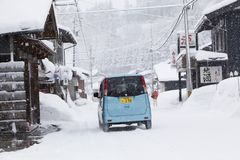 Widok Hatotani wioska w zima czasie blisko Shirakawa iść Zdjęcia Royalty Free