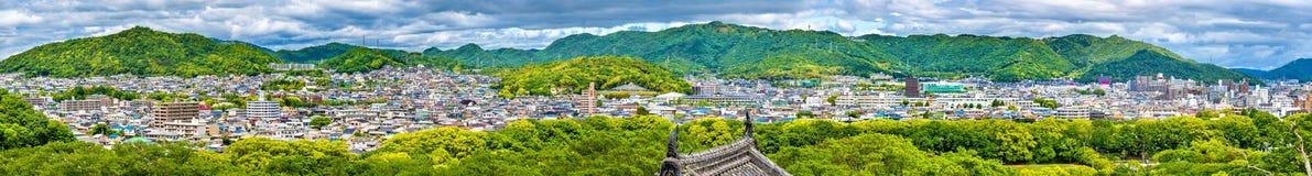 Widok Himeji miasto od kasztelu - Japonia obraz royalty free
