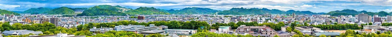 Widok Himeji miasto od kasztelu - Japonia zdjęcie stock