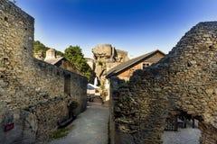 Widok historyczna Aggstein kasztelu ruina na Danube rzece niski Fotografia Royalty Free