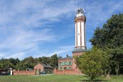 Widok historyczna latarnia morska na morzu bałtyckim w Niechorze, Polska, Europa. Obraz Stock