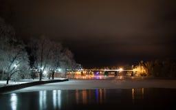 Widok historyczny kolejowy most w Savonlinna, Finlandia Zdjęcia Royalty Free