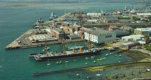 Widok HMS wojownika Portsmouth doki zdjęcie royalty free