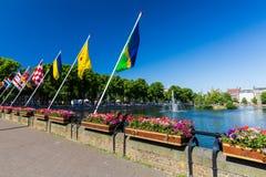 Widok Hofvijver jezioro w centrum miasta melina Haag Fotografia Royalty Free