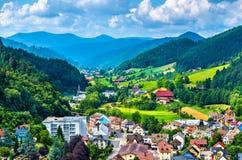 Widok Hornberg wioska w Schwarzwald górach - Niemcy fotografia stock