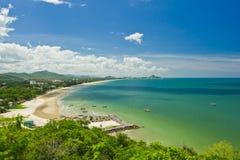 Widok Hua plażowy i denny hin Zdjęcie Stock