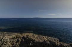 Widok Ionian morze od Kefalonia Zakynthos Zdjęcia Royalty Free