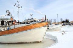 Jacht w Kotce przy zimą Zdjęcia Stock