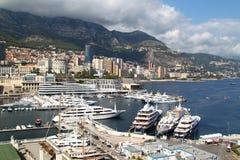 Widok jachty i łodzie w porcie Monaco Fotografia Royalty Free