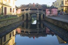 Widok Japoński most w wczesnym poranku hoi Vietnam Fotografia Stock