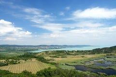 Widok Jeziorny Balaton od Tihany półwysepa Zdjęcie Royalty Free