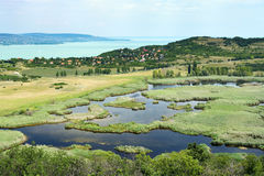 Widok Jeziorny Balaton od Tihany półwysepa Zdjęcia Royalty Free