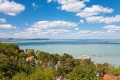 Widok Jeziorny Balaton od Tihany w Węgry Zdjęcia Stock
