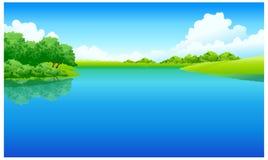 Widok jezioro ilustracji