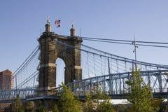 Widok John Roebling zawieszenia most w Cincinnati Ohio zdjęcie stock