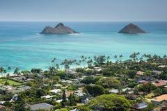 Widok Kailua i wyspy z wybrzeża od Lanikai Pillboxes Wlec obrazy royalty free