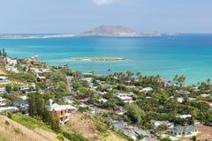 Widok Kailua od Lanikai Pillboxes śladu fotografia royalty free