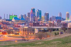 Widok Kansas City linia horyzontu w Missouri zdjęcie royalty free