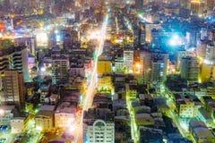 Widok Kaohsiung pieniężny okręg przy nocą Fotografia Royalty Free