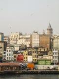 Widok Karakoy - jeden Istanbuł ` s najwięcej dynamicznych sąsiedztw Obrazy Stock