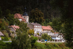 Widok Karlstejn wioska cesky krumlov republiki czech miasta średniowieczny stary widok Fotografia Royalty Free
