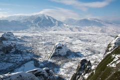 Widok Kastraki od Megala Meteor monasteru obrazy royalty free