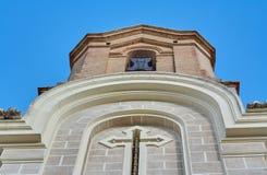Widok kasztel w mieście Cullera z bezchmurnym niebieskim niebem Okręg Walencja Hiszpania obraz stock