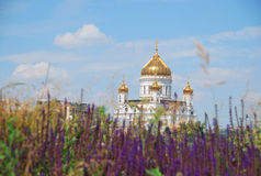 Widok katedra Chrystus wybawiciel w Moskwa Zdjęcia Stock