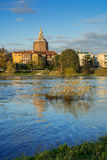 Widok katedra Pavia od Ticino Obrazy Royalty Free