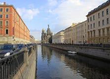 Widok katedra wybawiciel na krwi w St Petersburg Obrazy Stock