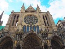 Widok Katedralna Notre-Dame de Chartres ind Chartres w Eure et Loir dziale Loire dolina, Francja obrazy stock