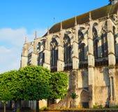 Widok Katedralna Notre-Dame de Chartres ind Chartres w Eure et Loir dziale Loire dolina, Francja obraz royalty free