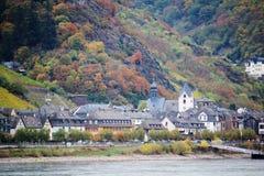 Widok Kaub miasteczko w rzecznej Rhine dolinie, Niemcy obrazy royalty free