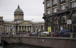Widok Kazan katedra od Griboyedov kanału Obraz Royalty Free
