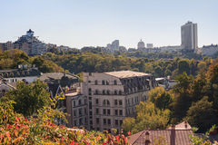 Widok Kijów zaświecał promieniami położenia słońce Obrazy Royalty Free