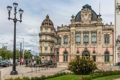 Widok klasyczny budynek z Banco de Portugalia Portugalski jawny bank w Coimbra, obraz stock