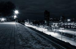 Widok Kluczowa autostrada i Baltimore od Federacyjnego wzgórza przy nocą Fotografia Stock