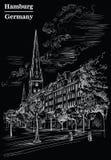 Widok Kościelny Hauptkirche Sankt Petri w Hamburg, czarny royalty ilustracja