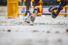 Widok końscy kopyta przy skokowym turniejowym szkoleniem Zdjęcie Royalty Free