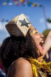 Widok kobieta w typowy brasilian, Junina przyjęcie zdjęcia royalty free