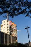 Widok kobry ` s graffiti przy paulista aleją ilustracja wektor