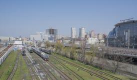 Widok Kolejowy kwadrat i kolejowi ślada na Kwietniu 05; Obrazy Stock