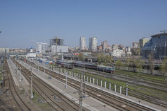 Widok Kolejowy kwadrat i kolejowi ślada na Kwietniu 05; Zdjęcie Stock