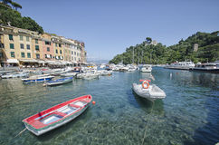 Widok kolorowa zatoka Portofino Fotografia Stock