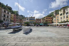 Widok kolorowi budynki Portofino Zdjęcia Stock